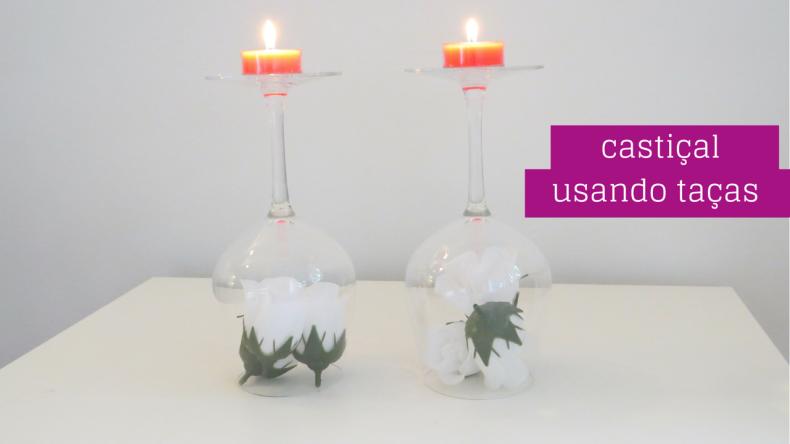castiçal usando taças decoração romântica
