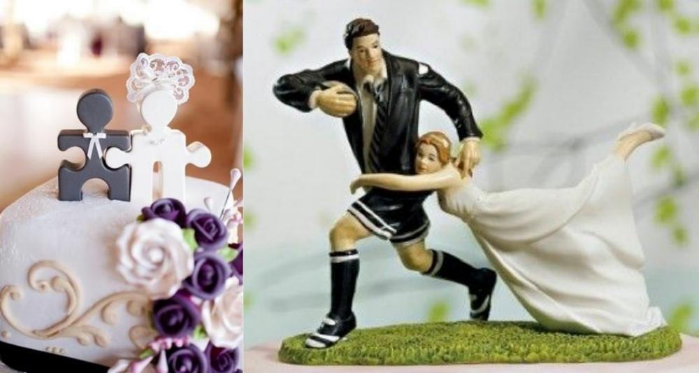 topo de bolo divertido para casamento quebra cabeca e rugby