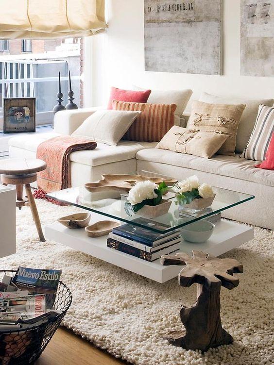 mesas de centro com tampo de vidro