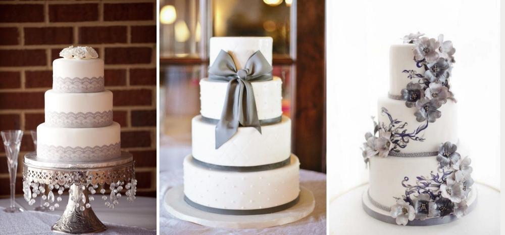 cinza no casamento bolo de casamento