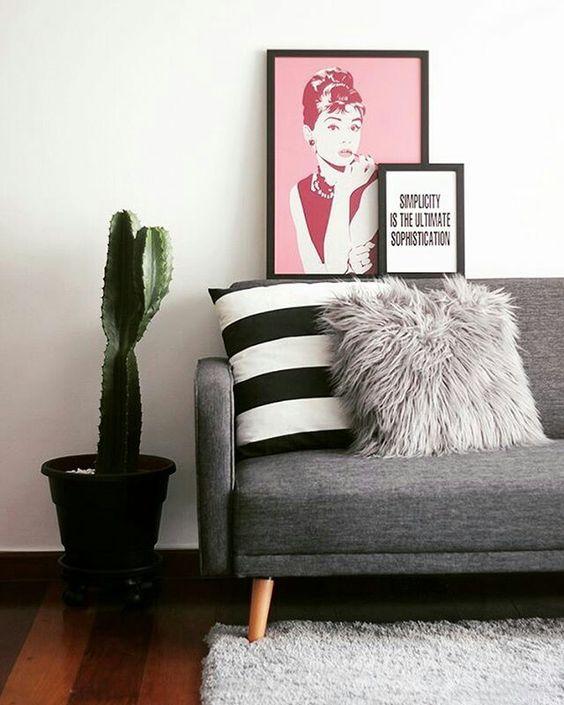 Sala De Estar Roxa E Cinza ~ cactos na decoracao sala de estar em tons de cinza e rosa