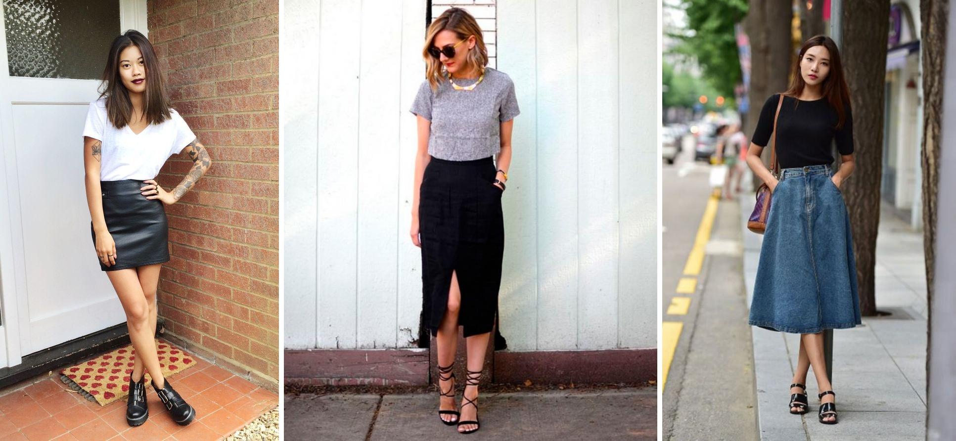 como se vestir no estilo básico e natural saias
