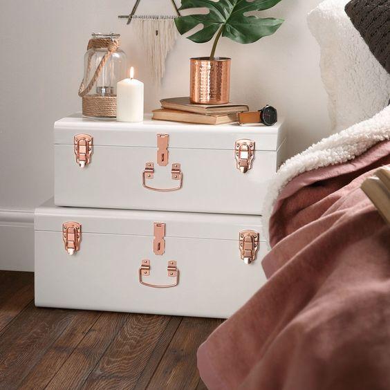 decoração rosé gold caixas