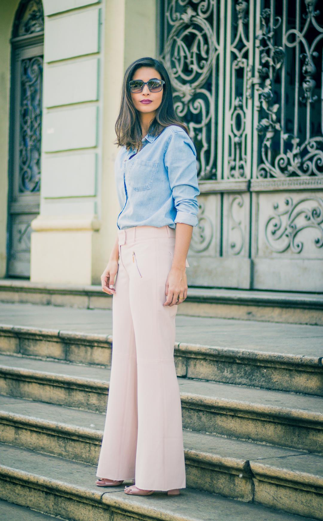 look calca pantalona rosa millennial