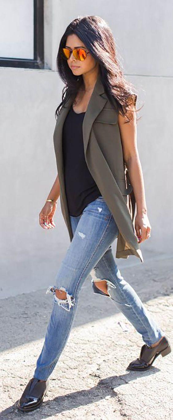 como usar colete com jeans